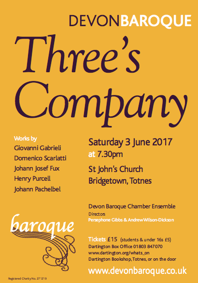 Devon Baroque concert - Three's Company
