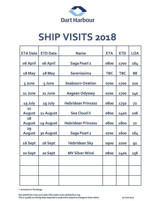 2018 Dart Harbour Ship Visits