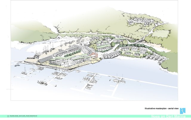 Illustrative aerial schematic of Noss on Dart redevelopment