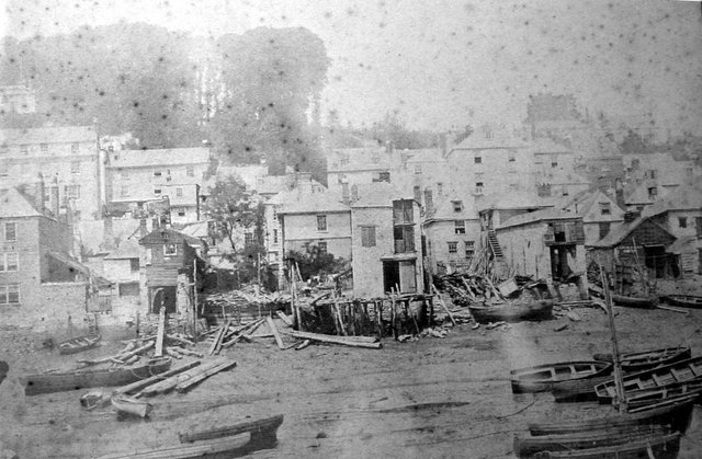 Boatyards round the rim of the foreshore on the line of what is now Mayor's Avenue, Dartmouth