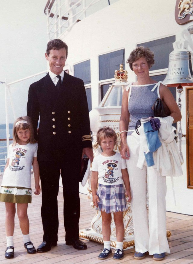 Nicko Franks and family aboard HMS Britannia