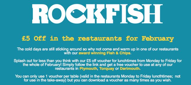£5 OFF at Rockfish during February 2015
