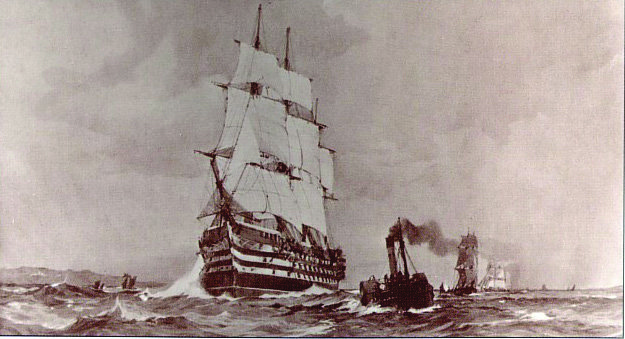 A painting by Charles Dixon, showing the original Britannia under sail en route from Portland to Dartmouth.