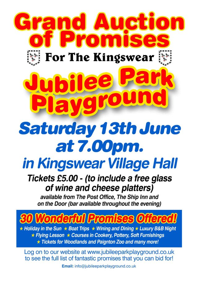 Kingswear Jubilee Playground. Grand Auction of Promises 13/6/15