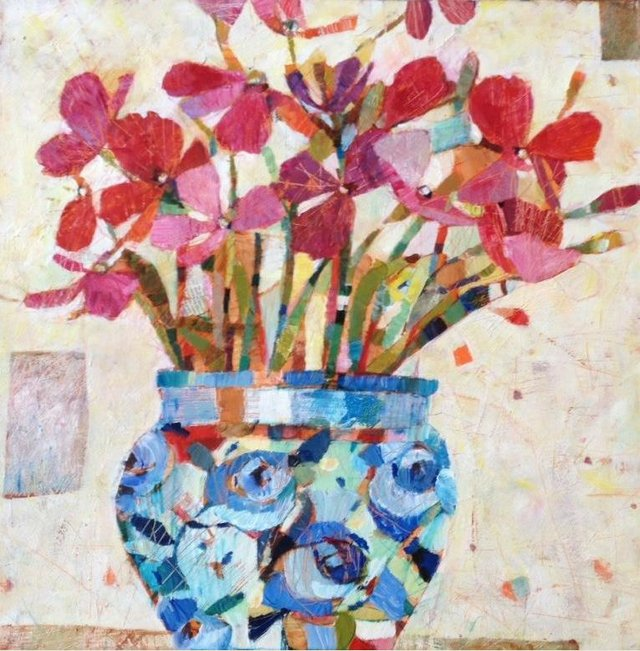 Sally Anne Fitter - Flowers in China Pot60x60.jpg