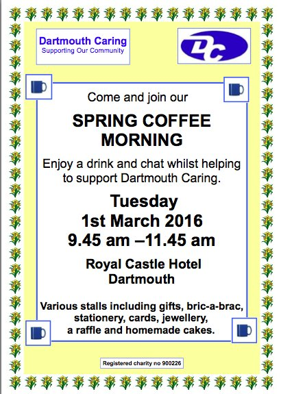 Dartmouth Caring Spring Coffee Morning, 1 March