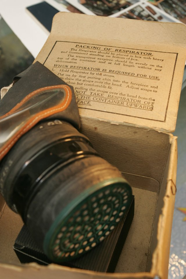A WW2 Gas Mask and Box