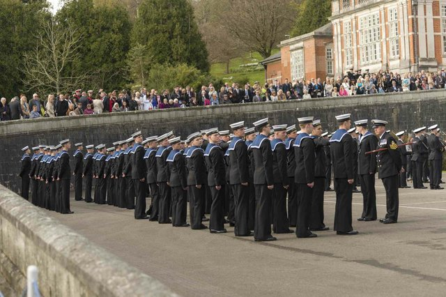 Rating recruits from HMS Raleigh were among those taking part in the parade