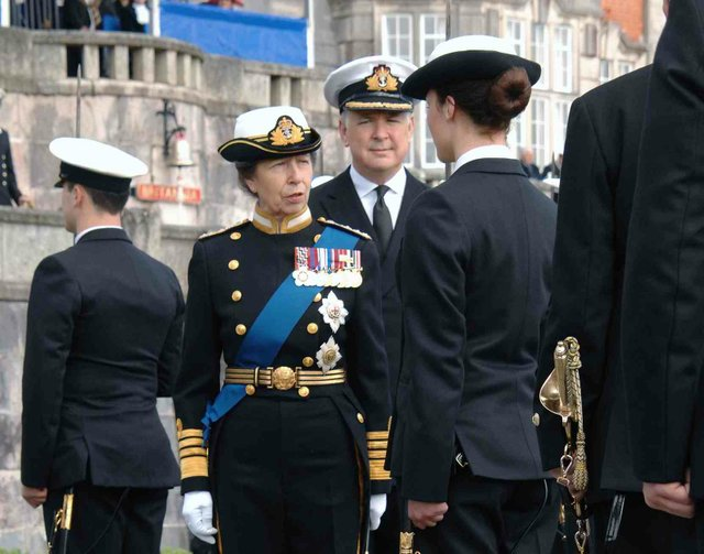 Her Royal Highness speaking to one of the Cadets during the inspection