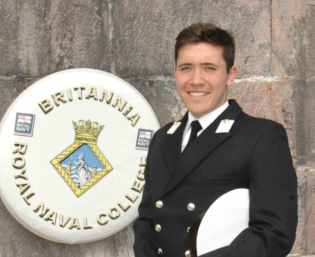 Midshipman Hendrikus Looze from Paignton was one of the Officer Cadets on parade